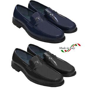 Mocassini-Uomo-Pelle-Blu-Nero-Scarpe-Eleganti-Classiche-Mocassino-Cerimonia