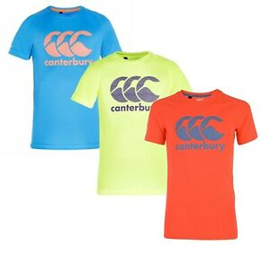 Black Canterbury CCC Rugby Kids Poly Large Logo T-Shirt New