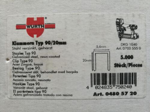 480 57 20 Heftklammern Würth Tacker Klammern Type 90 20 mm 5000 St Art-Nr