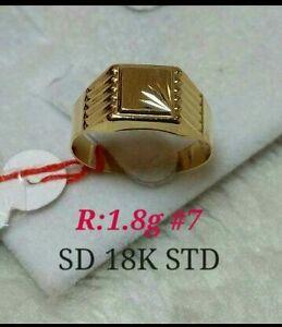 Gold-Authentic-18k-saudi-gold-men-039-s-ring-7-034-size