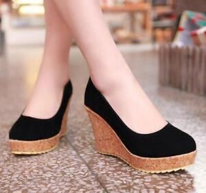 82a044cba72 Women s High Heel Wedge Round Toe Cork Course Shoes High Heel Size ...