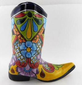 Vintage-Talavera-Pottery-Cowboy-Boot-Planter-Flower-Vase-Mexico-Folk-Art-GOOD
