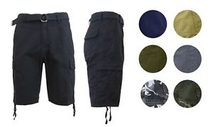 Galaxy-By-Harvic-Mens-Comfort-Fit-Distressed-Cargo-Shorts-W-Belt-100-Cotton