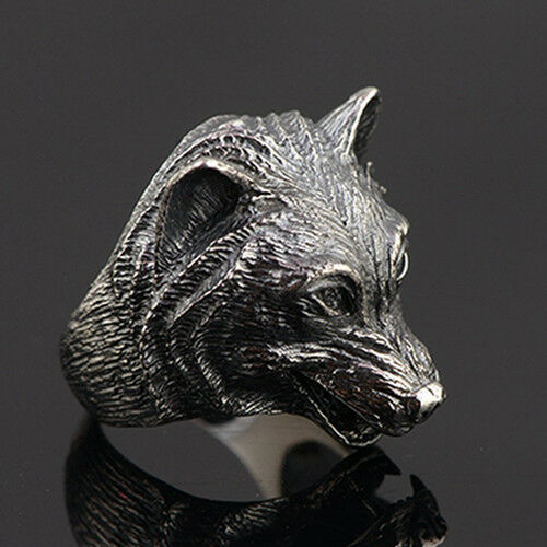 Details about  /Huge Men/'s Solid 925 Sterling Thai Silver Ring Wolf Head Open Size 8 9 10 11