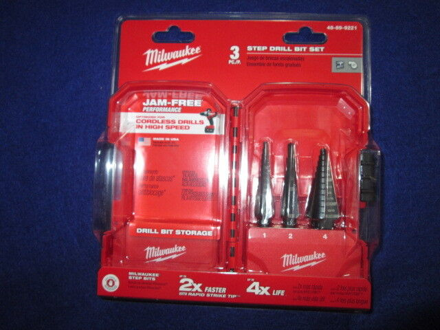 MILWAUKEE 48-89-9221 3 PIECE STEP DRILL SET  1  2 &  4 NEW