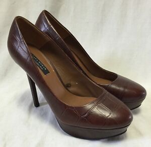 504f60d9fc4 Zara Women s Croc Embossed Stilettos 8 39 Brown Platform Heels ...