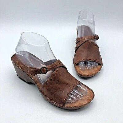 Clarks Artisan 76866 Women Brown Leather Wedge Sandal Shoe Size 6.5M Pre Owned | eBay