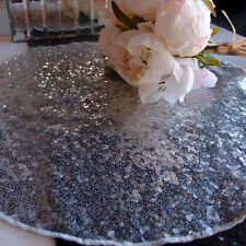 """16"""" Silver Sequin Round Table Placemat"""
