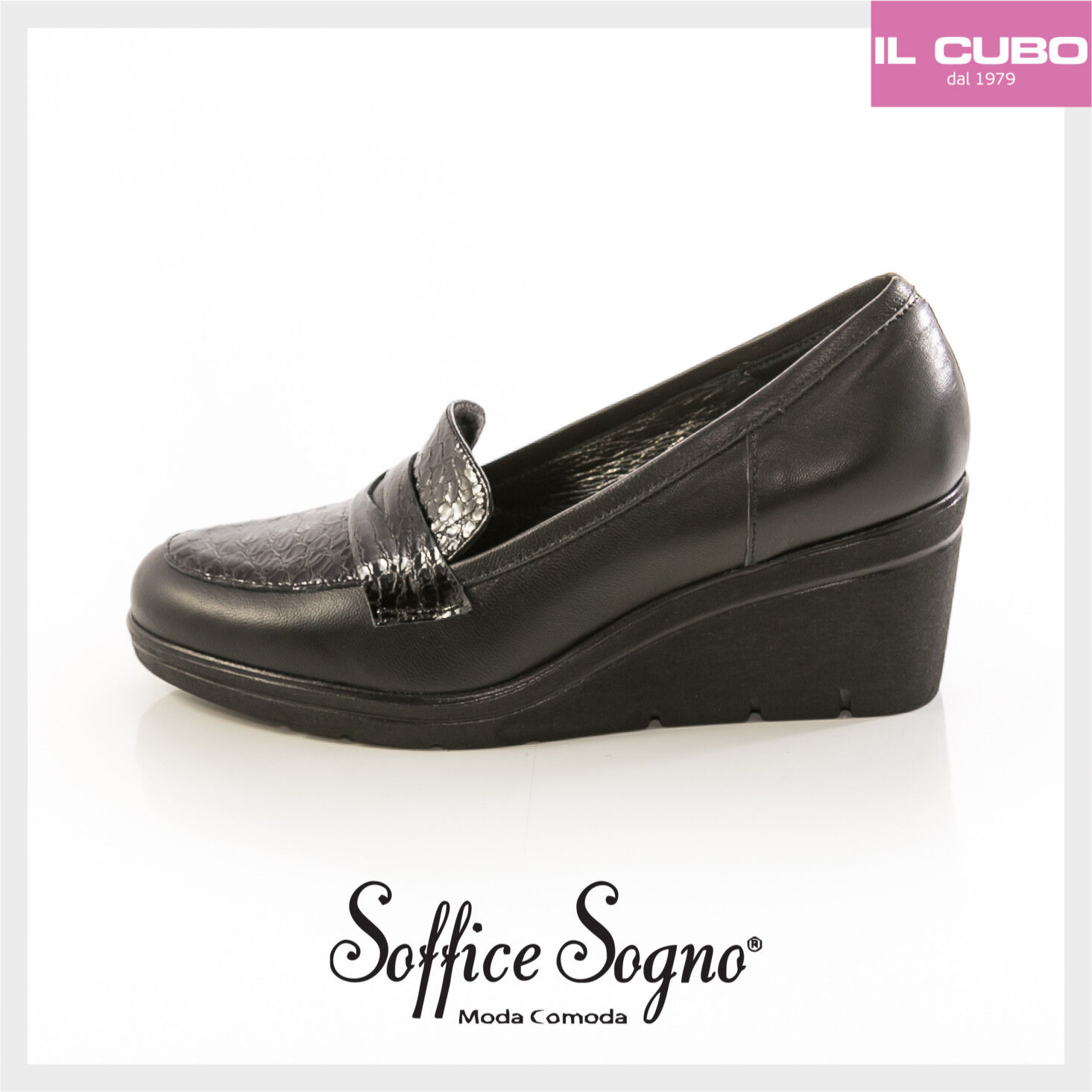 SOFFICE SOGNO SCARPA women MOCASSINO PELLE  black ZEPPA H 6 CM MADE IN ITALY