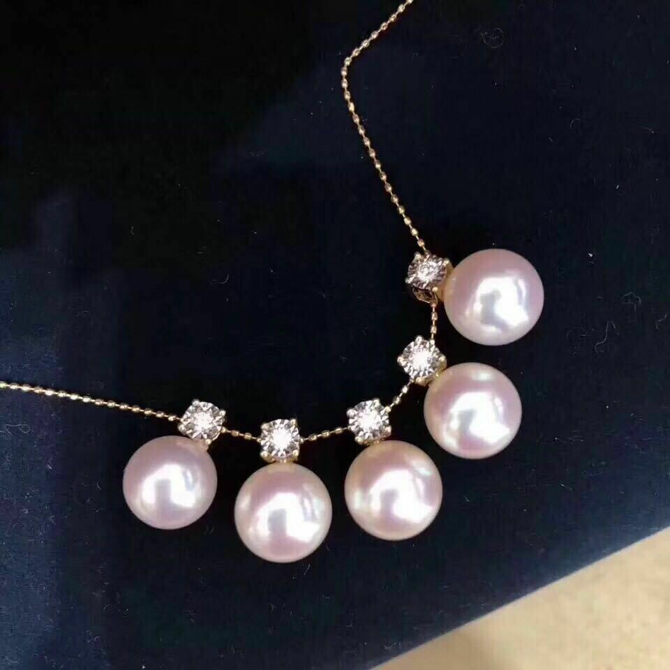 Certified Natural White Pearl 18 K gold Pendant Women Birthday Gifts