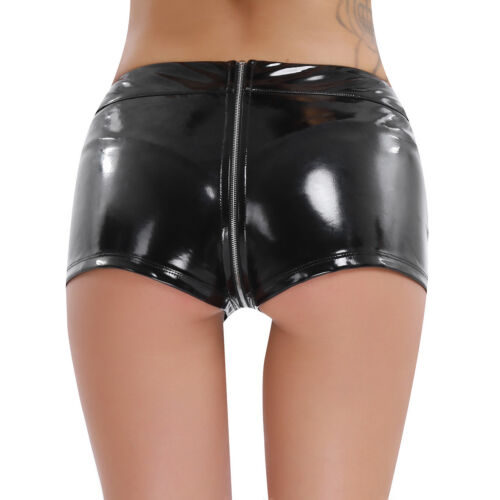 Womens Lingerie Leather Micro Shorts Pants Punk Zipper Open Crotch Boxer Briefs