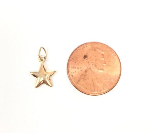 Tiny 14K Gold Yellow 9.0mm Puffy puff  Star Charm