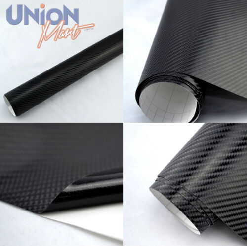 de alta calidad * Negro 4d Brillo De Fibra De Carbono Vinilo Wrap película de Aire Libre