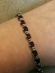 Vtg-Natural-deep-red-garnet-solid-925-Sterling-silver-Tennis-line-bracelet