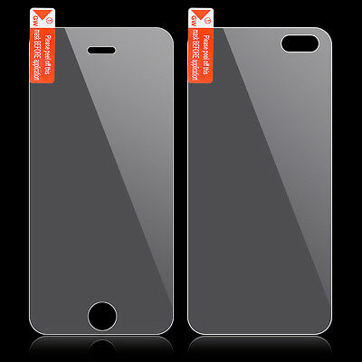 For iPhone 5 5S 9H+ Premium Real Tempered Glass Film Screen Protector Front Back