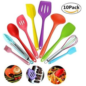 Image Is Loading 10pc Multi Colour Kitchen Utensils Cooking Non Stick