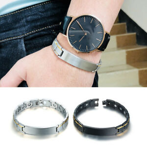 Mens-Health-Care-Magnetic-Therapy-Bracelet-Healing-Bangle-Personalized-Engraving
