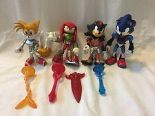 Lot of 4 SONIC the Hedgehog Shadow Knuckles Tails Figure 6 inch Light Up Swords