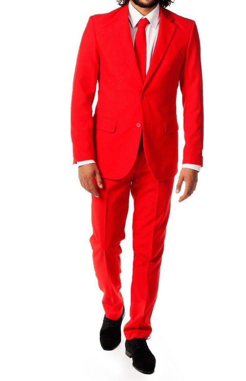 New  Herren Bright ROT Holiday Christmas Party Suit TUXXMAN Fashion Slim Fit SALE