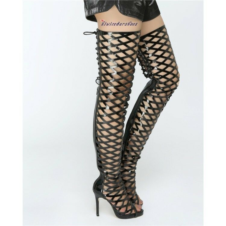 Womens Ladies Fashion Sexy Peep Toe Cutout Lace Up Over Knee Boots Club shoes
