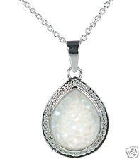 Solid 925 Sterling Silver Teardrop Soft Grey Druzy Pendant Necklace '