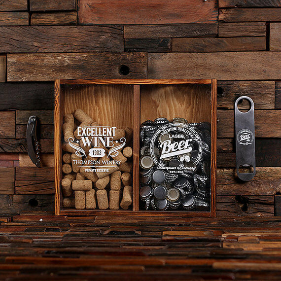 Beer Cap Holder Personalized Shadow Box Bottle Opener Barware Man Cave Woman Pub