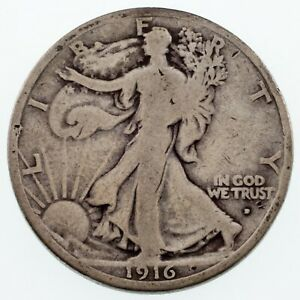 1916-D-50C-Walking-Liberty-Half-Dollar-in-VG-Condition-Natural-Color-Both-Sides