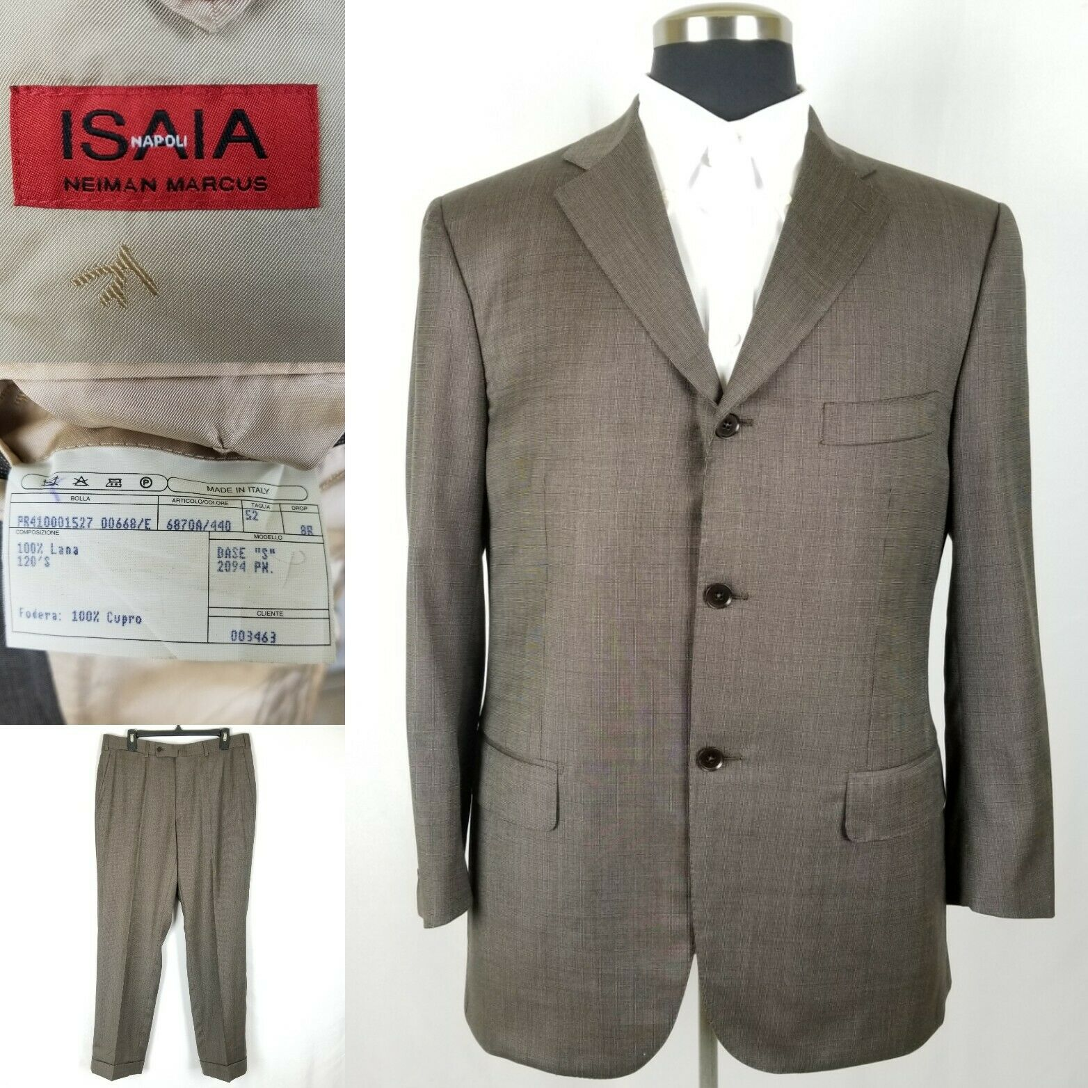Isaia Napoli Neiman Marcus Super 120's Brown Wool Suit Men's Size 42R US