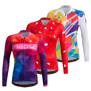 27edaa245 Women s Long Sleeve Cycling Jerseys Reflective Ladies Bicycle Bike ...