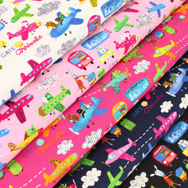 Cotton Fabric FQ Aircraft Airplane Plane Car Taxi Bus Zoo Children Cartoon VK109