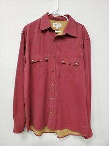 RYAN-MICHAEL-MENS-WESTERN-SHIRT-Size-Large-Silk-Cotton-Red-w-Corduroy