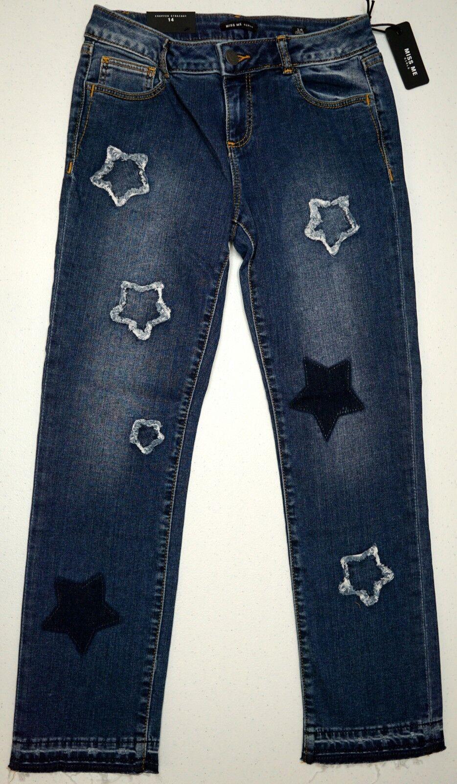NWT  Miss Me Girls Jeans Cropped Straight Stretch Size 7 12 14 16 Denim Stars
