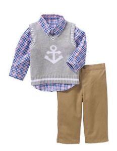 13dcddd31f71 George Toddler Boys Sweater Vest And Pants Dress Suit Set Size 0-3 ...