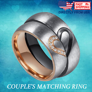 Couple Matching Heart Ring, Son Ou Le Sien Wedding Band Comfort Fit Promesse Bague-afficher Le Titre D'origine