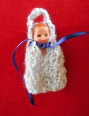 """Doll Clothes Hand-knitted blue Baby Cocoon fits 2"""" to 3"""""""