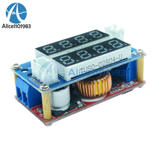 Blue//Red 5A CC//CV Adjustable Step Down Charge LED Panel Voltmeter Ammeter Module