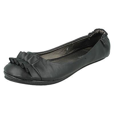 Damas Spot on Bailarina Plano Casual Zapatos De Punta Redonda Dolly detalle fruncido F8539