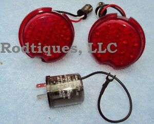1939-Chevy-Taillights-Replace-Existing-Lenses-W-LED-Flasher-Included
