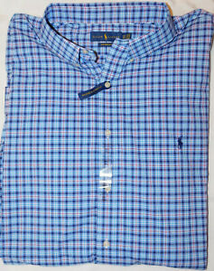 New-Men-039-s-Polo-Ralph-Lauren-Performance-Plaid-Button-Down-Shirt-3XLT-Tall