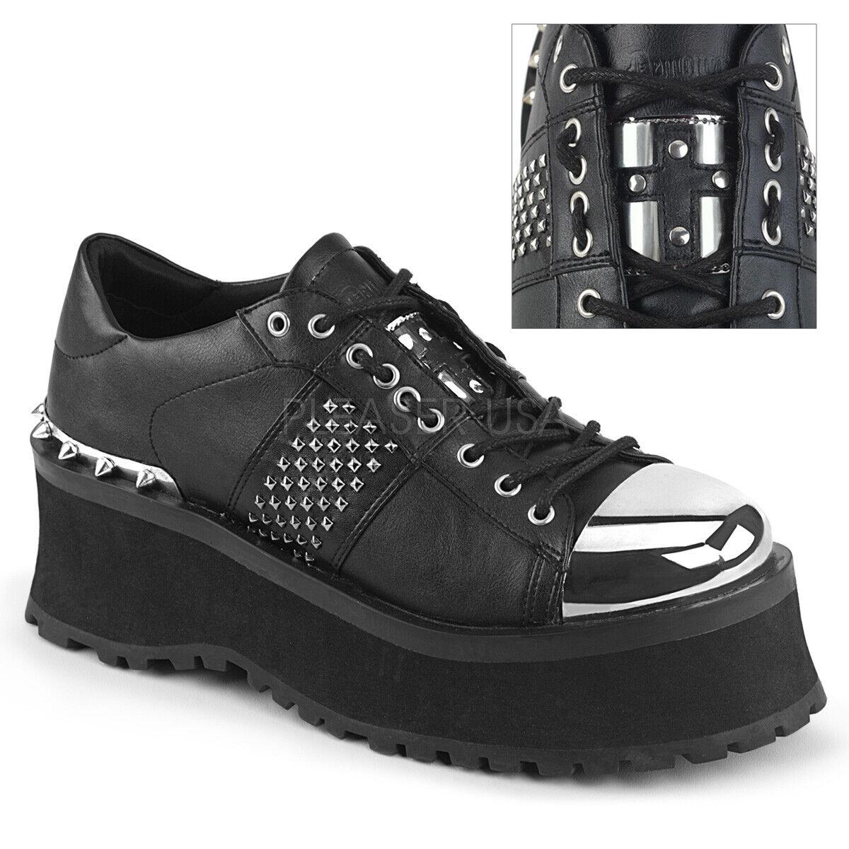 Zapatillas para hombre Plataforma Negro Acero Puntera Punk Goth Demonia Zapatos 8 9 10 11 12