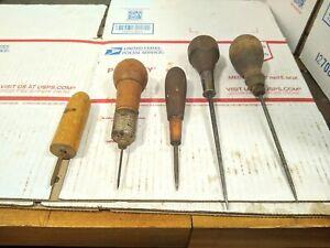 Vintage-Antique-Set-Of-5-Awls-Punch-Wood-Handle