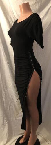 **Rare Exotic Midnight Black Side Zipper Dress**