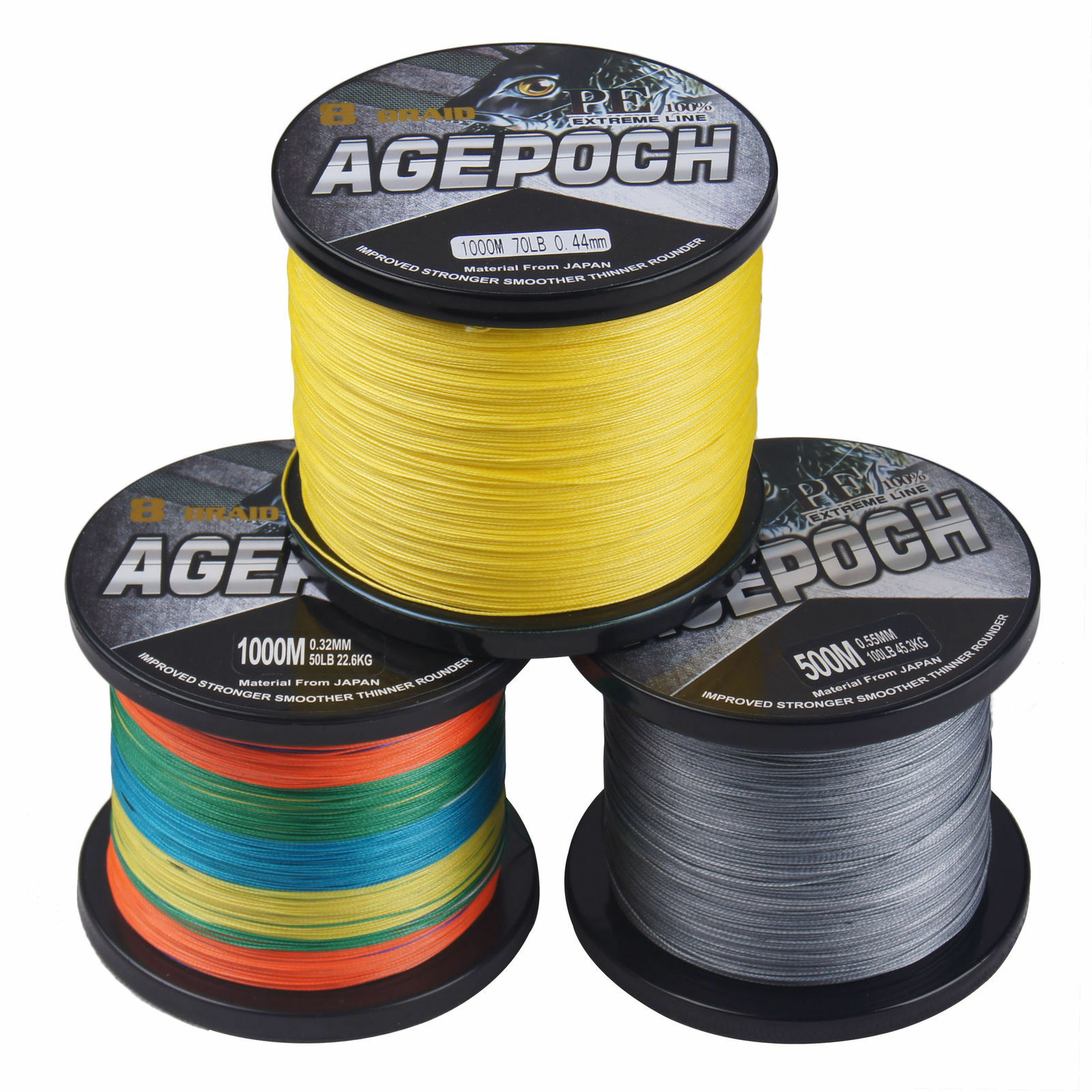 8 Strands 100M-1000M 5 colors Dyneema Braided Fishing Line 10LB-100LB Agepoch