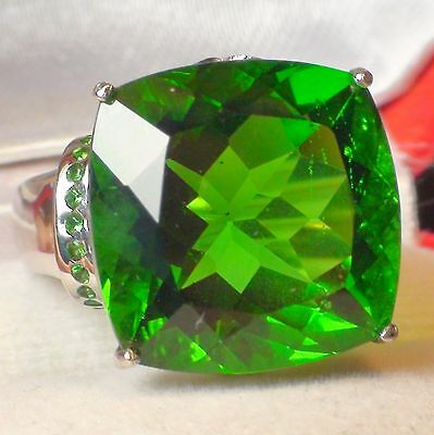 BIG! 21.25 ct NATURAL  AAAA...MOLDAVITE  RING 925 STERLING SILVER.SIZE 6.5.