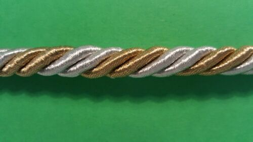 9 T l:5mb:10mm 0,99eur//m cenefa cordel paspelband Gold-plata metal hilo bordure