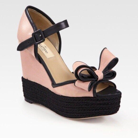 Valentino rosadododo Couture Couture Couture arco de dos tonos Cuña De Cuero Talla 7.5  comprar marca