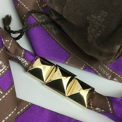 Hermes Gold Plated 3 Piece Pyramid Medor Stud Twilly Scarf Ring for  Bracelet Bag d20a261fa9d