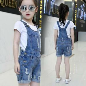 b7bdab556ab45 Details about Kids Girls Ripped Dungaree Jeans Overalls Jumpsuit Denim  Shorts Pants Playsuit