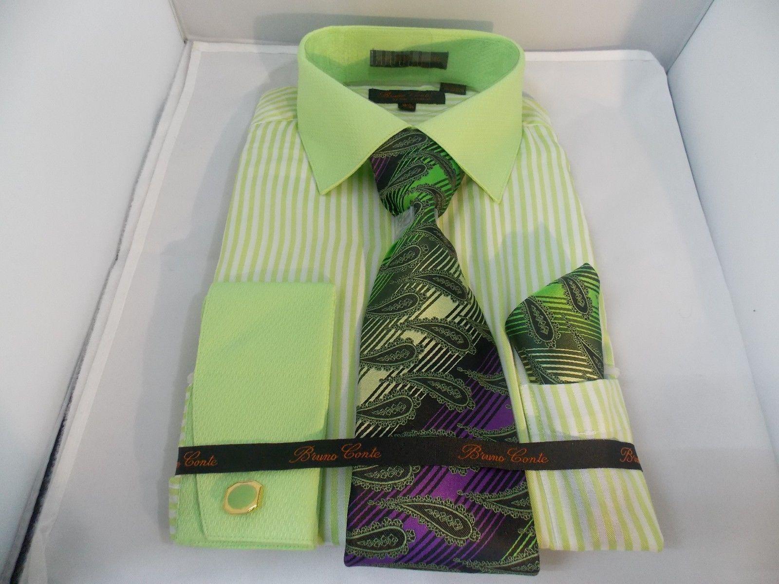 Men's Bruno Conte Mint Striped Design Dress Shirt,Tie,Hanky,Cufflinks