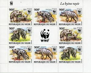 Niger-2015-Mnh-Rayas-Hiena-Wwf-8v-m-s-Hienas-animales-salvajes-de-fauna